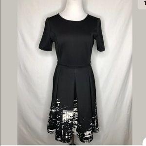 Elie Tahari Pleated Fit Flare Short Sleeve Dress